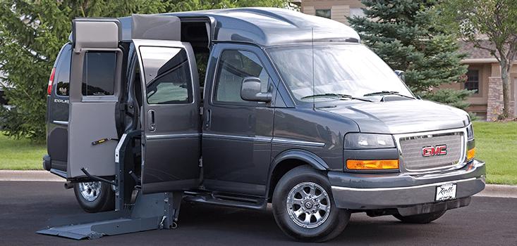 Rollx Vans full size wheelchair vans for sale side lift door open