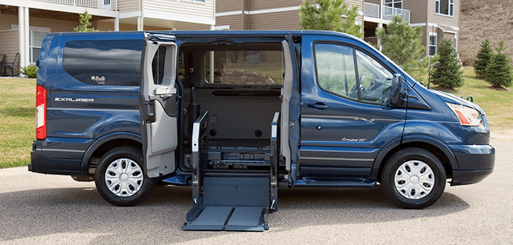 Rollx Vans Ford transit wheelchair van lift on ground
