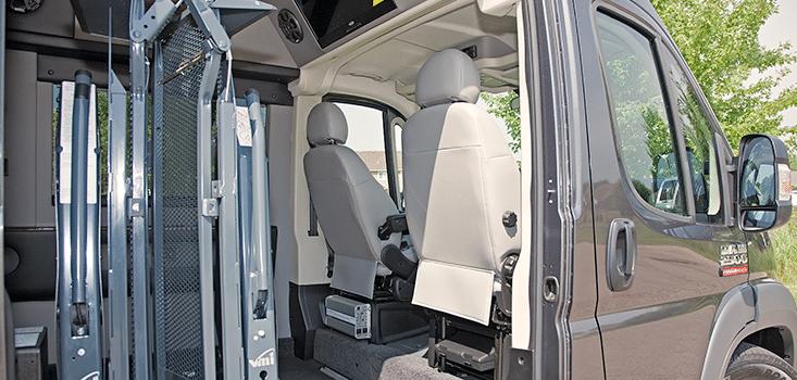 Rollx Vans Dodge Ram Promaster wheelchair van front seats